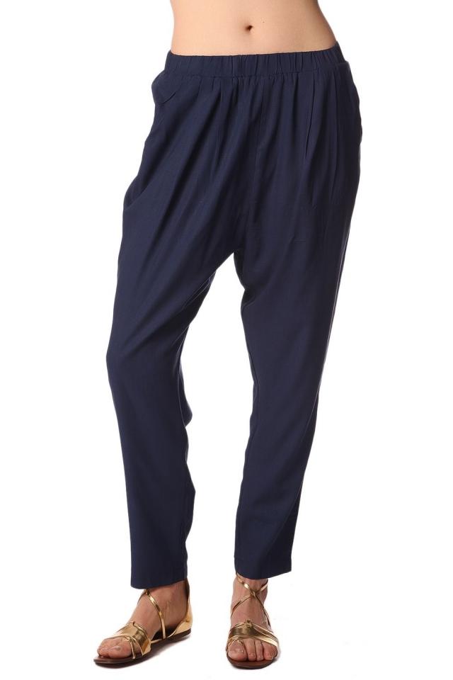 Pantalones de pinzas con cintura elástica azul marino