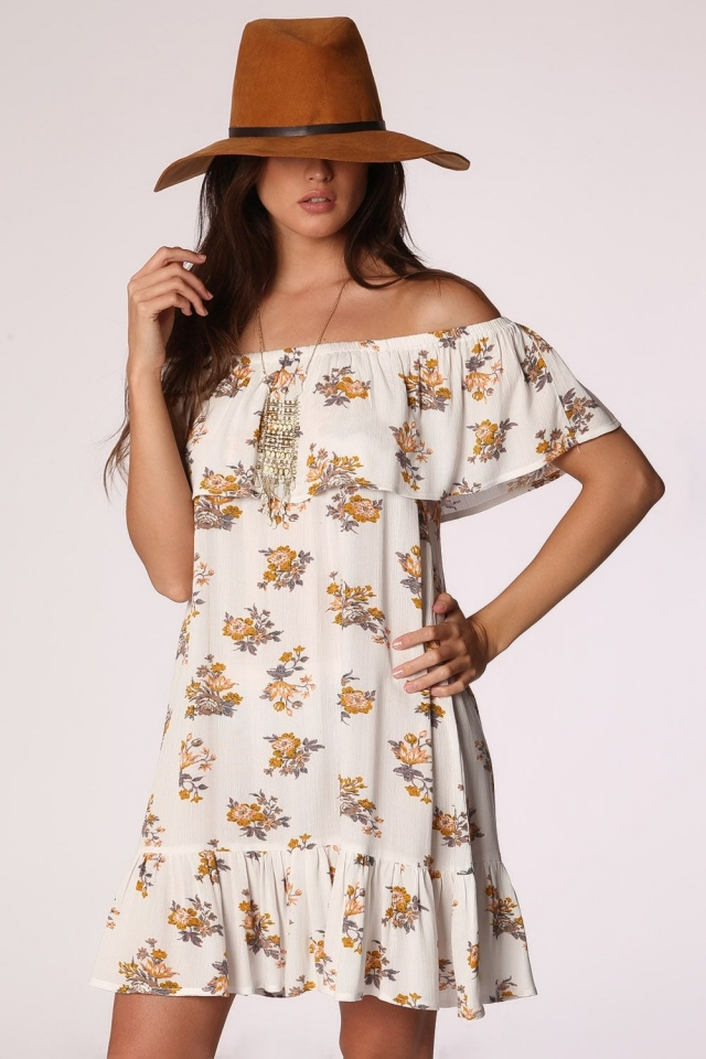 White off shoulder ruffle dress in floral print