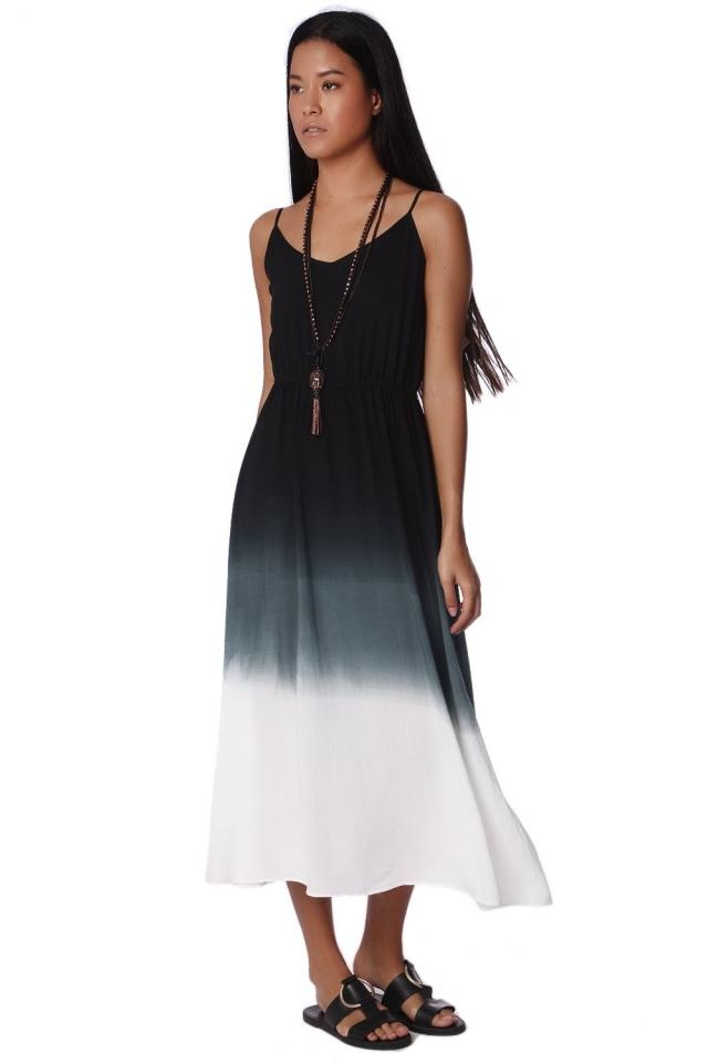 Gray gradient dye cami maxi dress