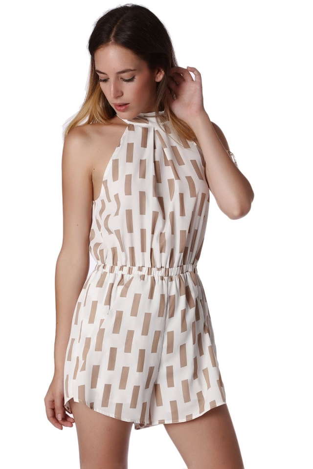 Playsuit in print with open back and bow detail