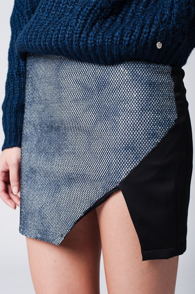 Mini Skirt With Wrap Front in blue snake print