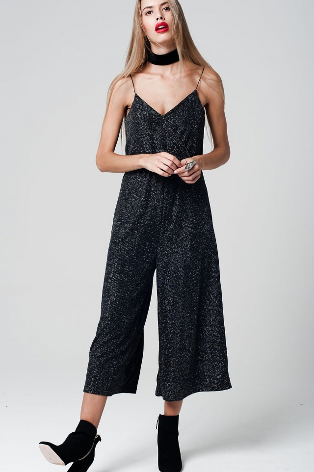 Black Jumpsuit metallic tissue Culotte Leg