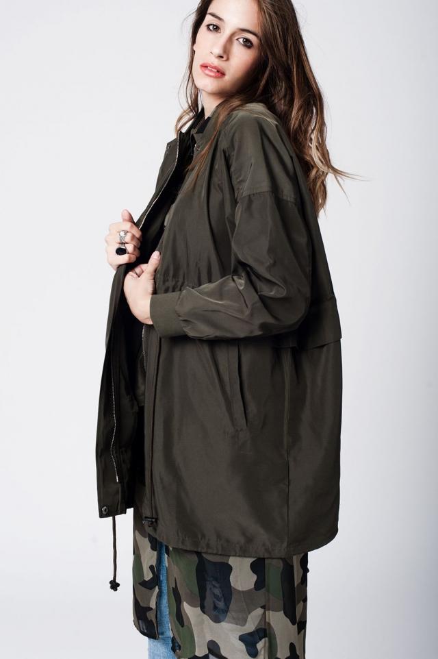 Khaki parka coat with ribbed collar