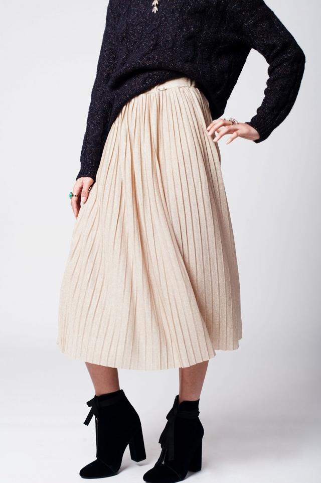 Beige pleated skirt with lurex