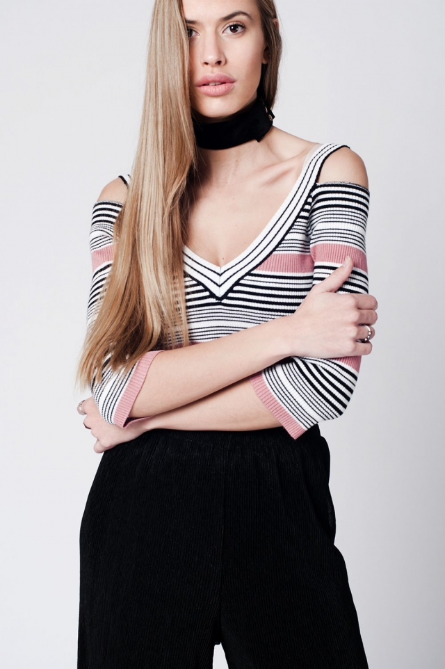 Pink striped body-con top with V neck