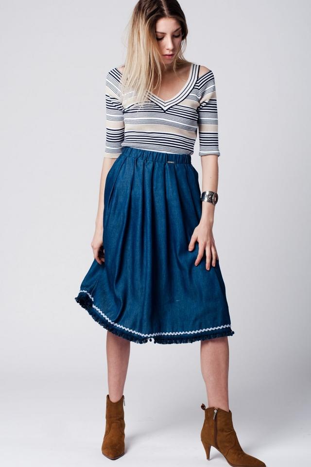 Fringe Midi skirt in jeans