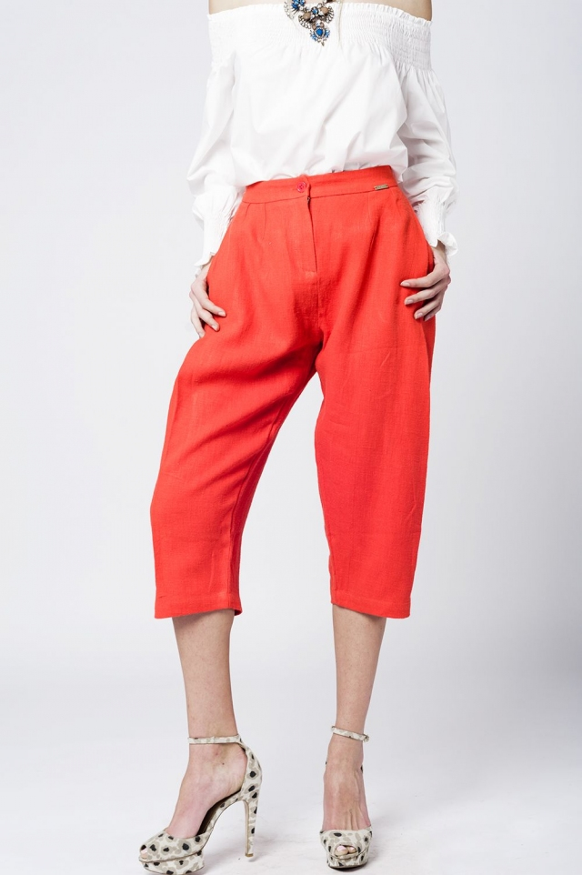 Midi linen tweezer pants in orange