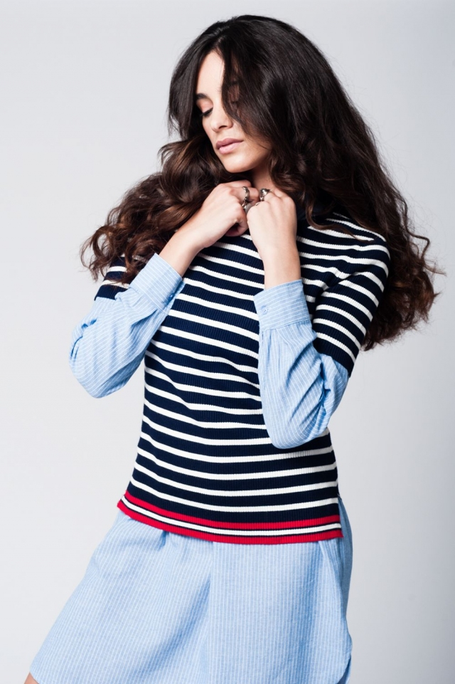 Navy breton stripes knitted sweater with contrast line