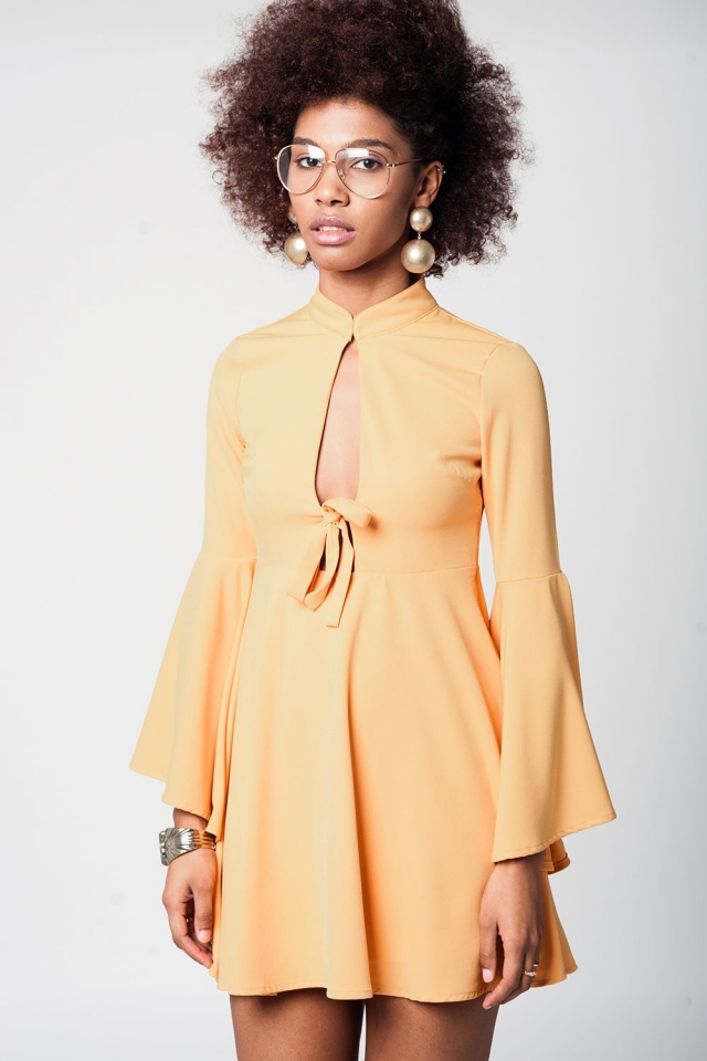 Yellow bell sleeve plunge dress