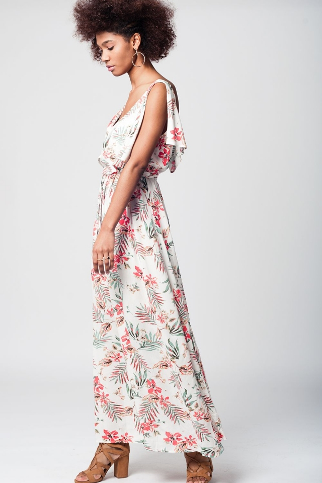 White maxi beach dress with floral print