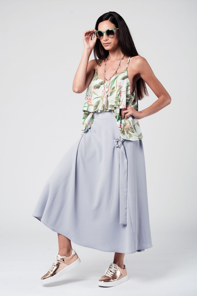 Grey midi skirt with belt and ring detail