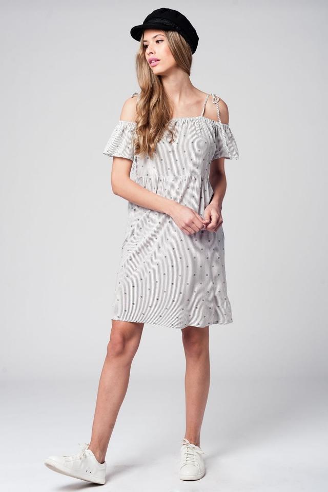 Cold shoulder stripe black dress
