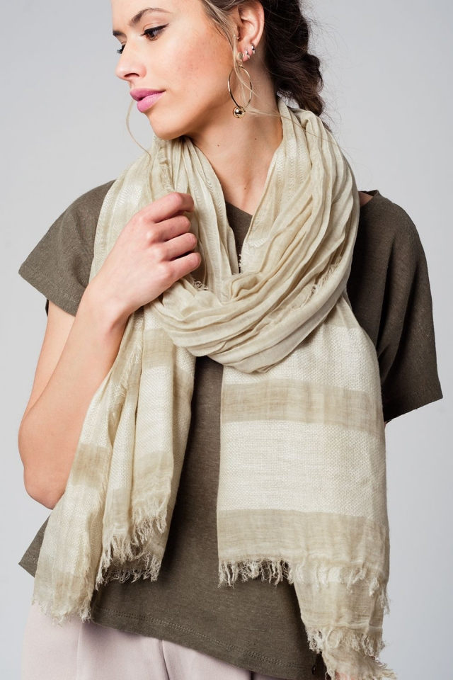 Beige lightweight scarf with fringed ends
