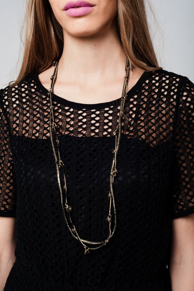 Black multichain necklace with gold details