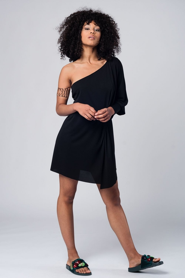 One shoulder asymmetric black mini dress