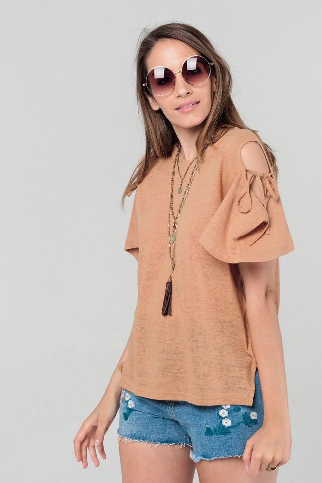 Cold shoulder top in camel