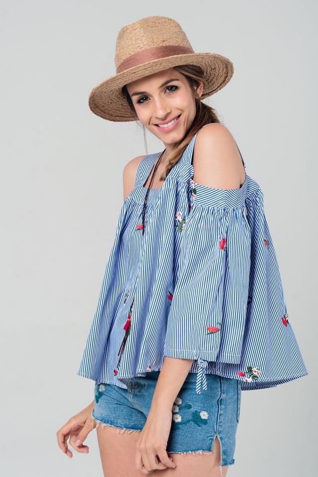 Embroidered cold shoulder striped top