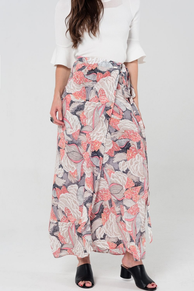 Floral wrap maxi skirt in pink