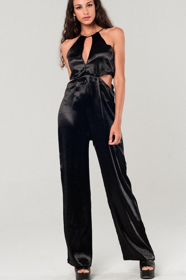 Metallic black jumpsuit with cutout details
