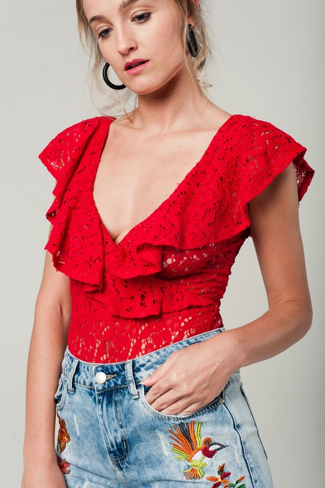 Red lace bodysuit with ruffle detailing