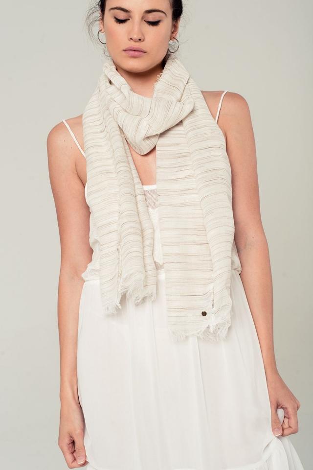 Lighweight striped scarf in beige
