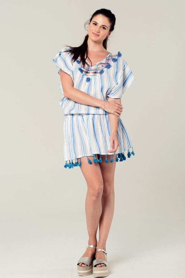 Striped kaftan in blue with embroidered detail and tassels