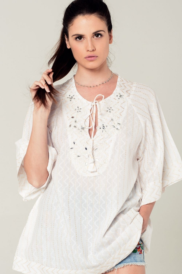 Embellished white mini dress with embroidery detailing