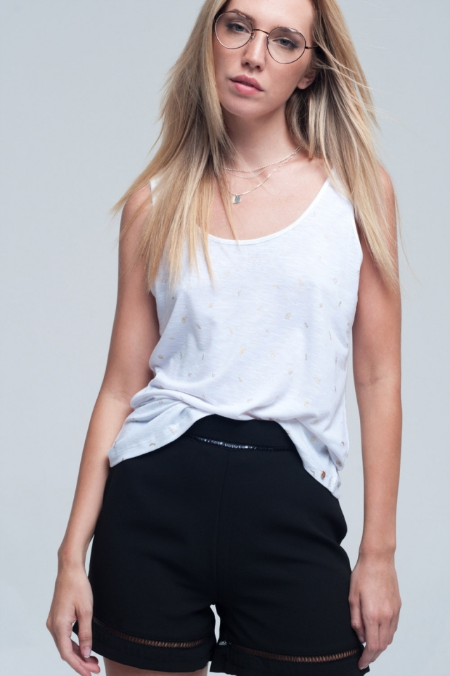 Tank top in white with printed detail