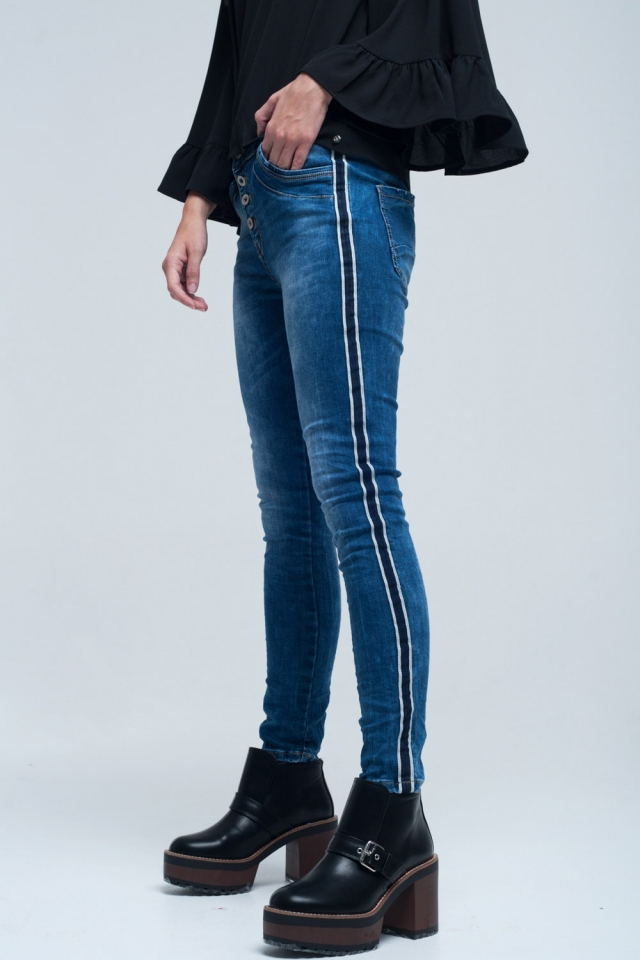 Jean with stripes on the side