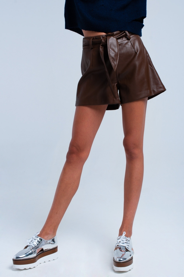 Brown short imitation leather