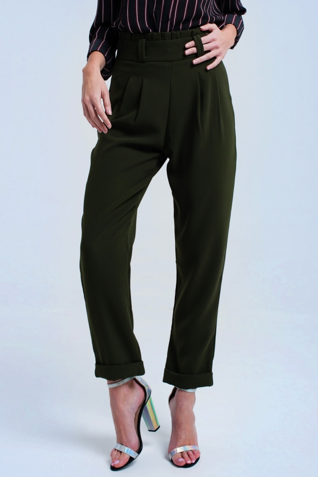 Green trousers with ruffles