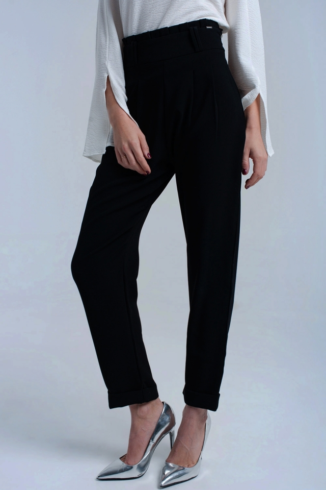 Black trousers with ruffles