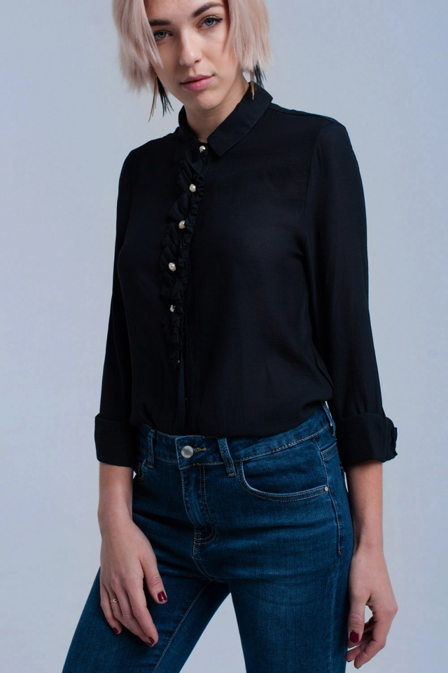 Black shirt with buttons