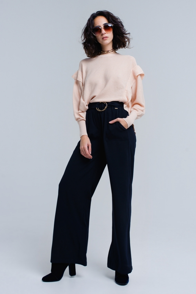 Navy trousers with buckles