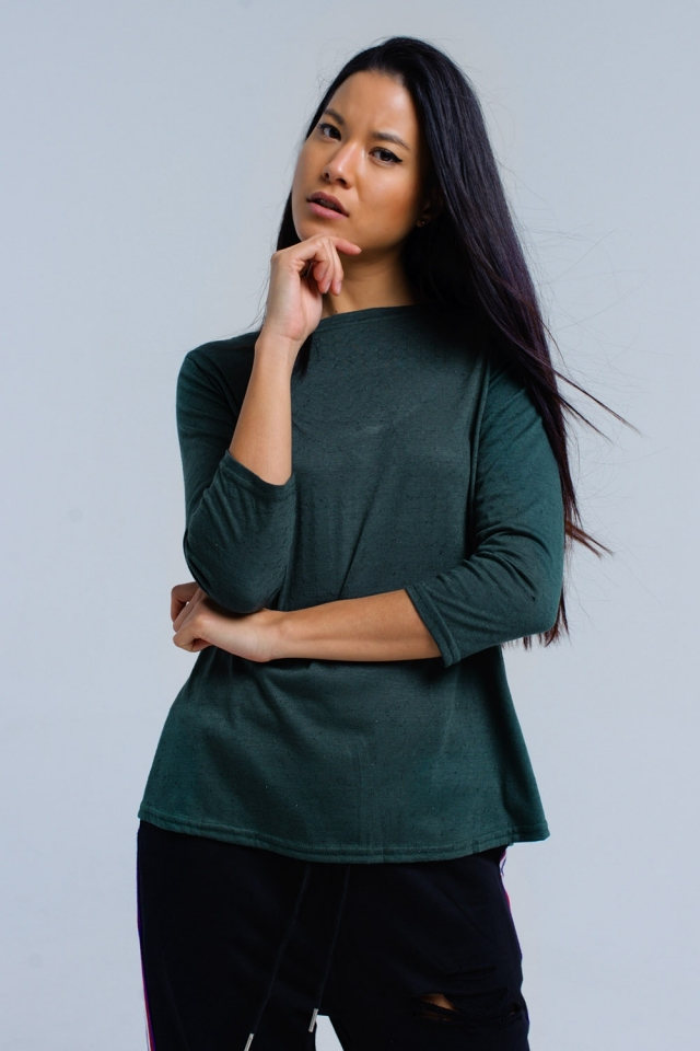 Green shirt with elastic strap