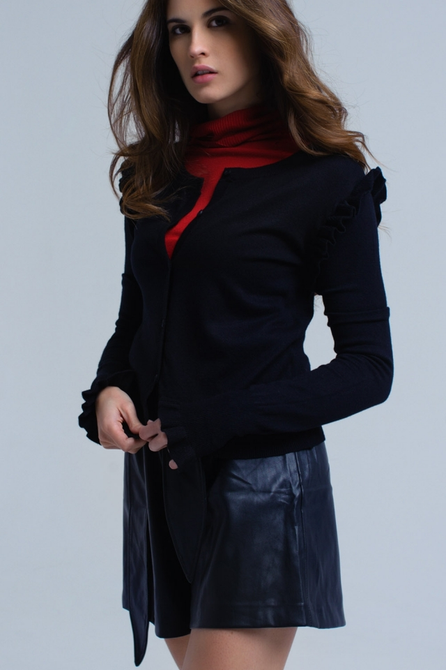 Black cardigan with ruffle detail