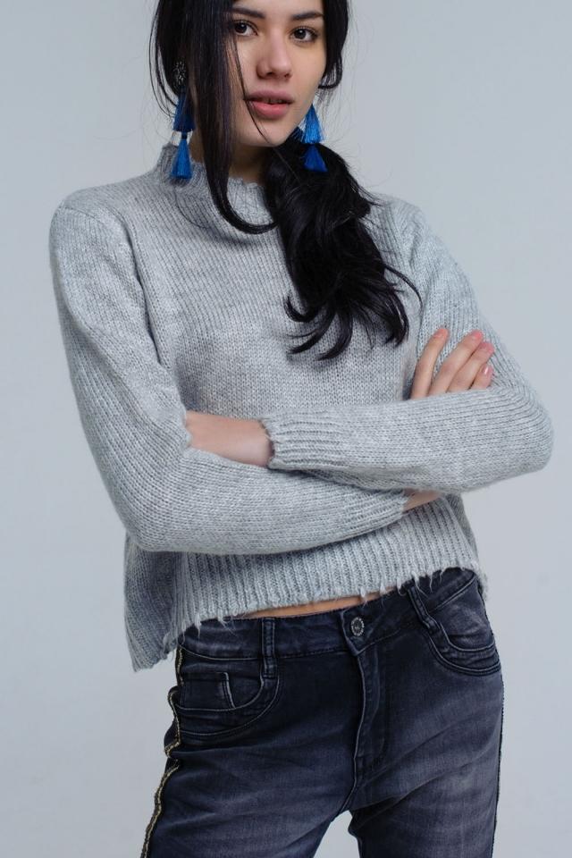 Gray knitted drop frill hem sweater