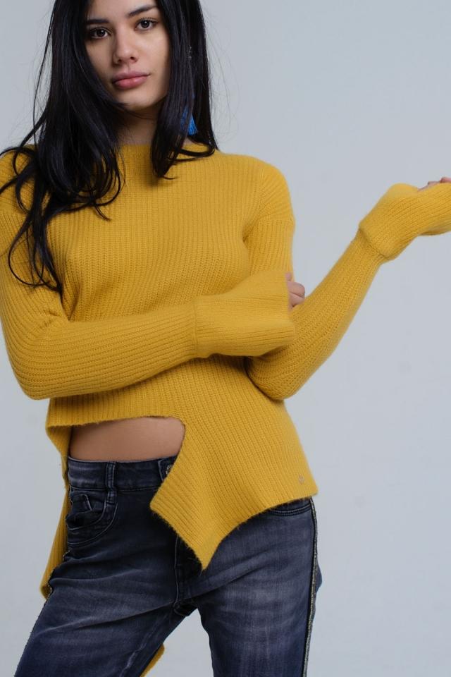 Mustard knitted asymmetric sweater