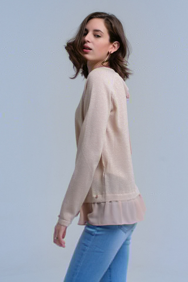 Beige shiny sweater