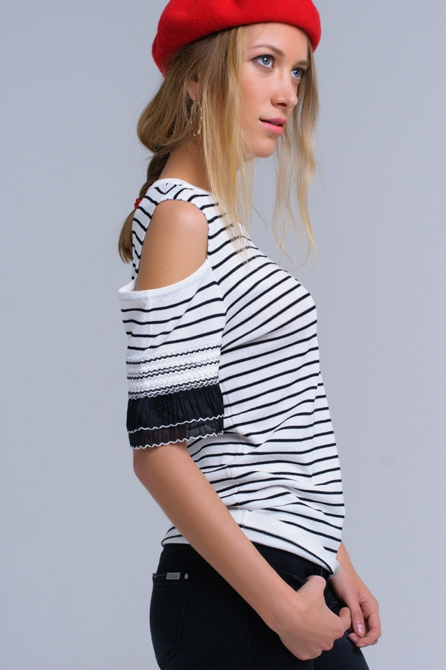 White striped sweater with embroidery