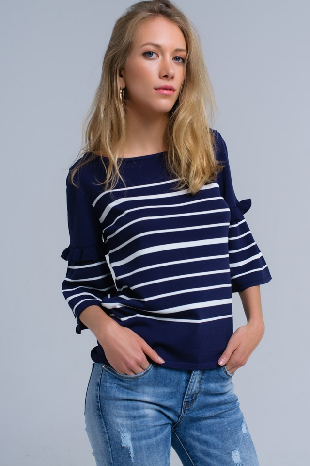 Navy striped sweater with bell sleeves
