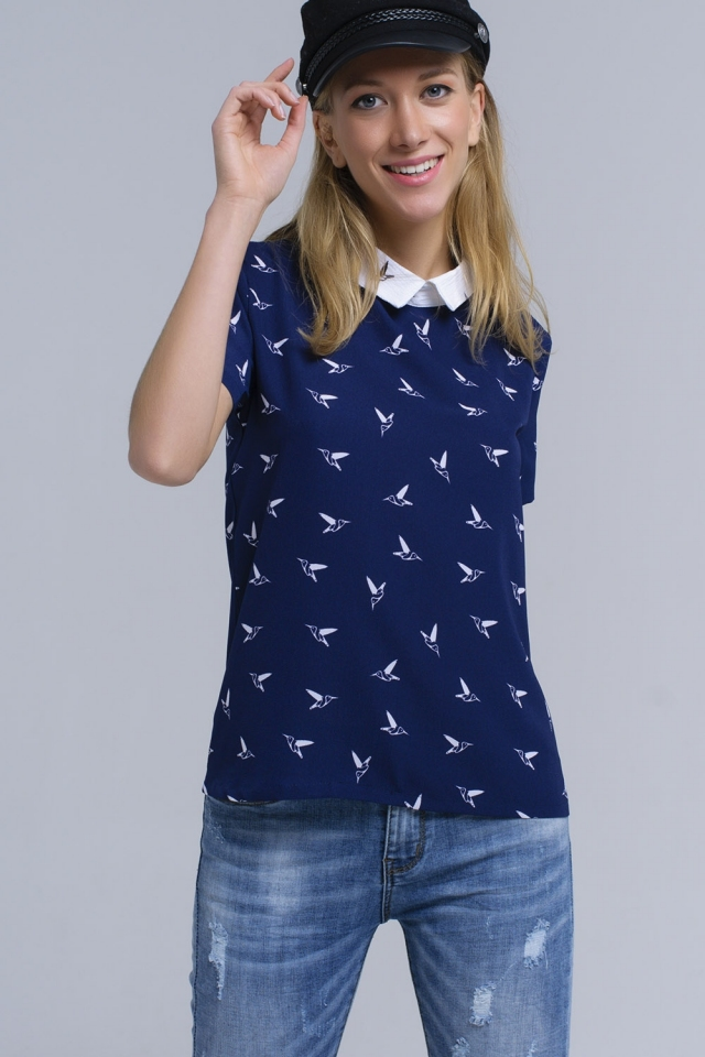 Navy shirt with printed birds