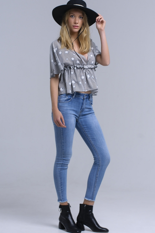 Skinny jeans with fringe