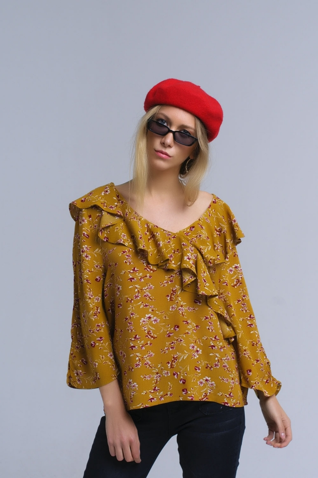 Shirt with crossed ruffles in mustard