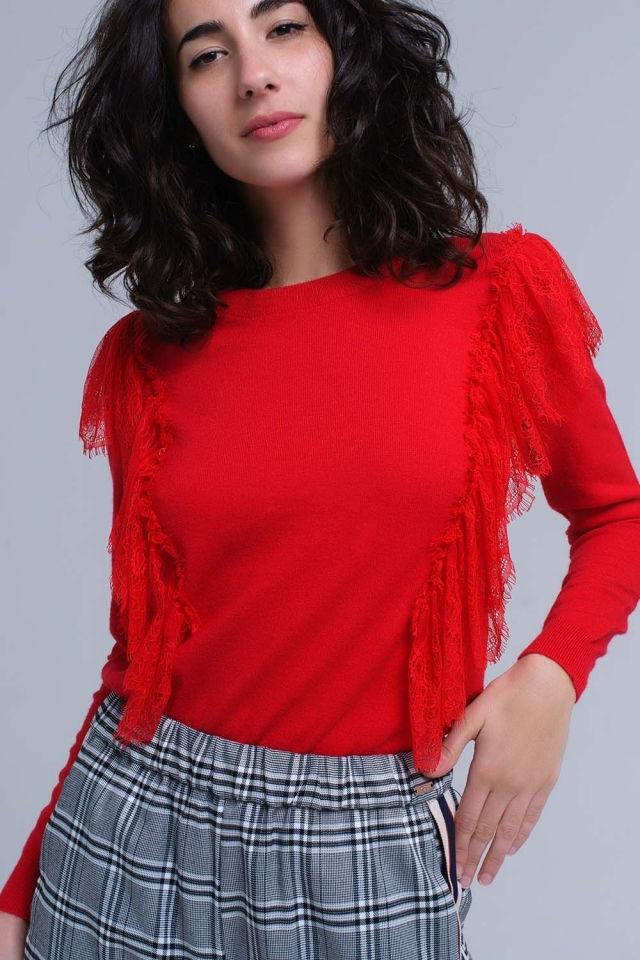 Red sweater with crochet ruffles