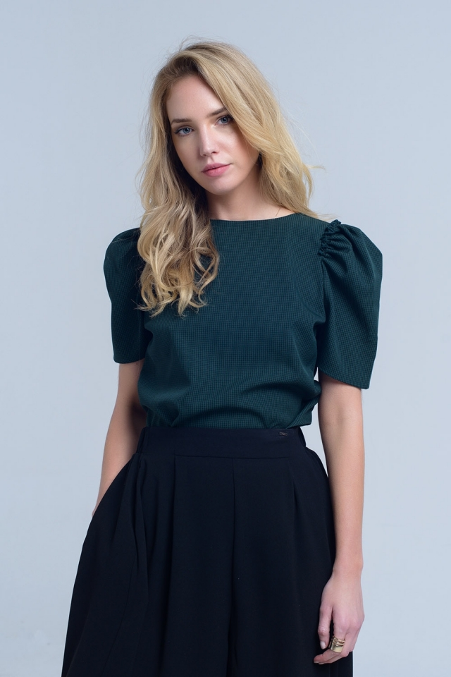 Green pique top with short sleeve