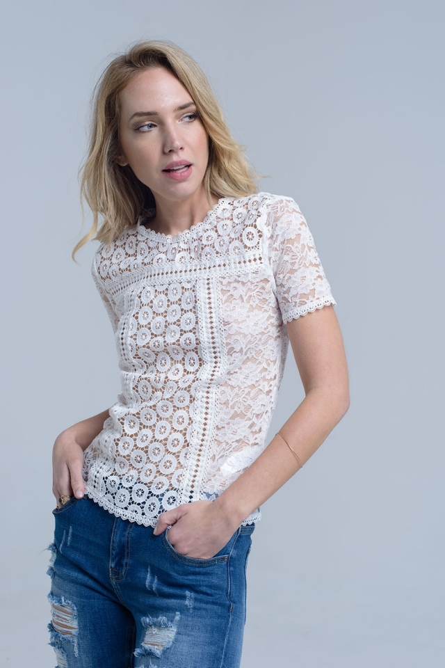 White short sleeve lace top