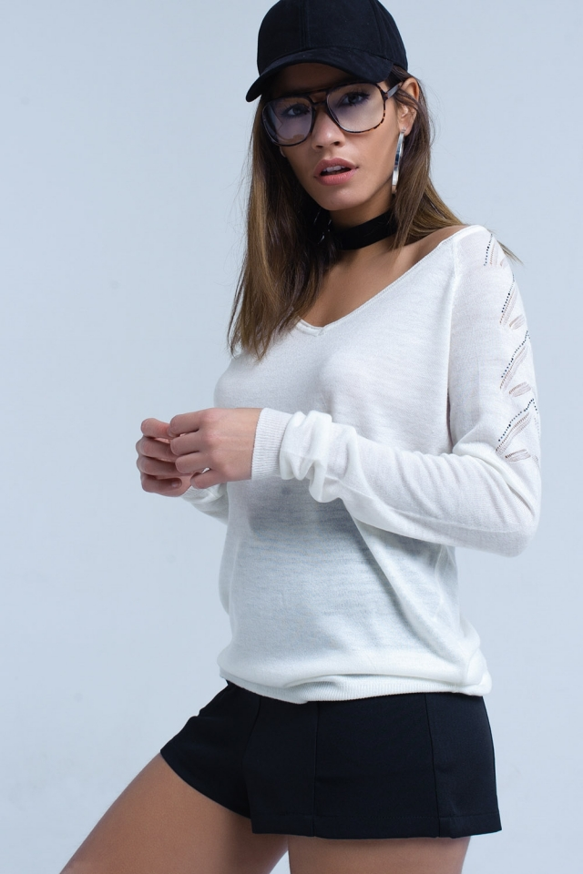 White sweater in lightweight knit fabric