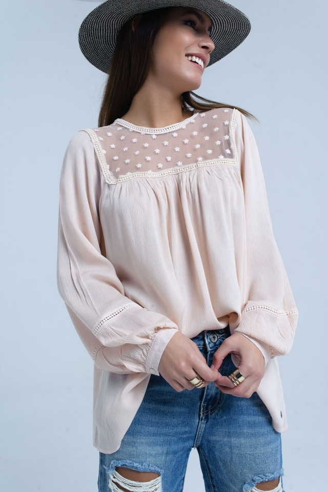 Pink blouse with contrast applique detail