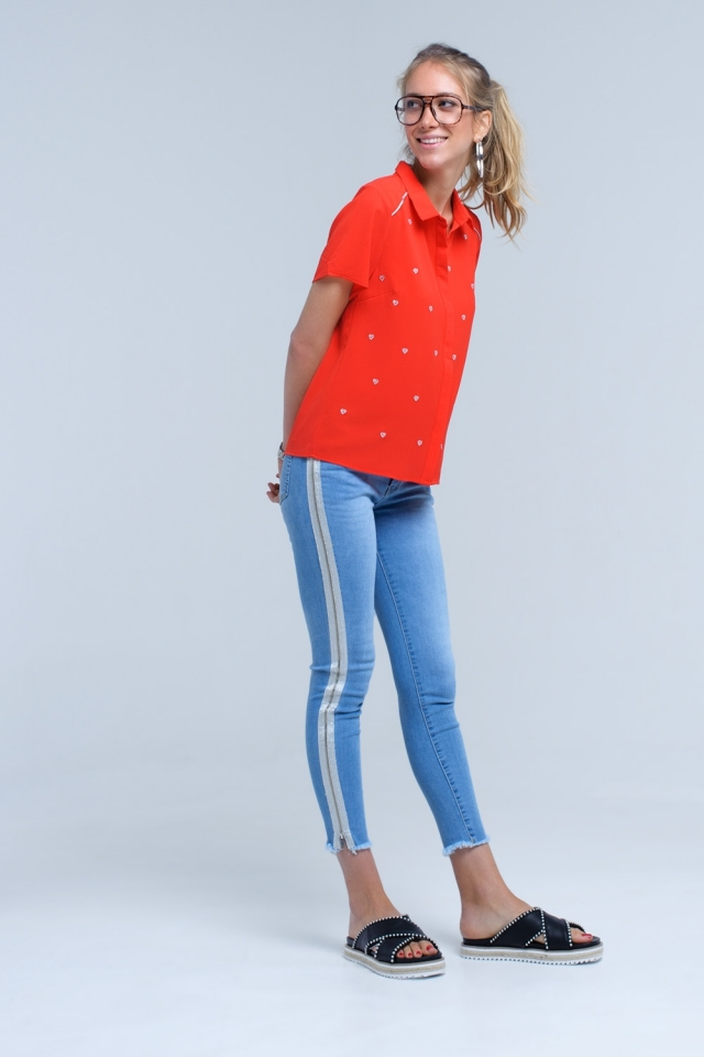 Skinny jean with zip silver side detail